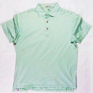 Men's Peter Millar Sz L Grn Striped SS Shirt